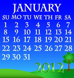 January 2012 landscape calendar vector