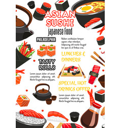 Japanese food sushi roll and drink menu banner vector