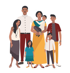 large family portrait indian mother father and vector image vector image