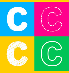 Letter c sign design template element four styles vector