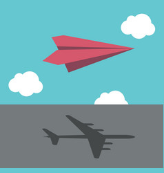 paper plane casting shadow vector image vector image