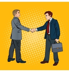 Pop art businessmen shaking hands vector