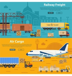 Railway freight and air cargo vector