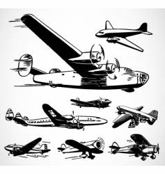 Retro airplanes vector