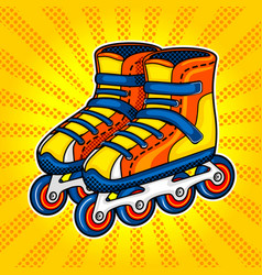 roller skates comic book style vector image vector image