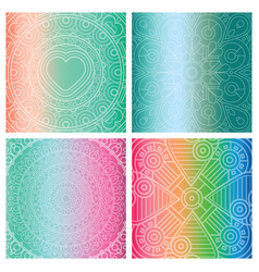 Set of cards with indian mandala on colorful vector