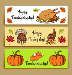 Sketch Thanksgiving banners vector image vector image