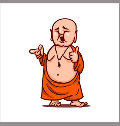 Smiling buddha shows thumb up points to someone vector