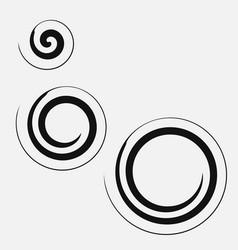 Three circular spirals of different sizes vector