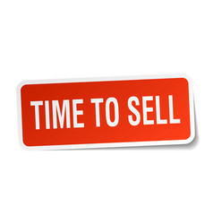Time to sell square sticker on white vector