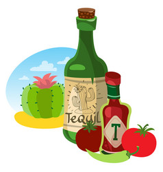 Tomato ketchup and tequila hot sauce vector