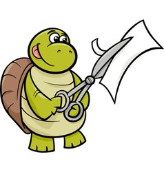 Turtle with scissors cartoon vector