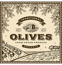 Vintage brown olives label vector