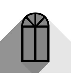 window simple sign black icon with two vector image
