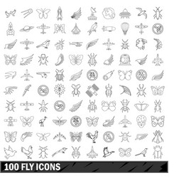 100 fly icons set outline style vector image vector image