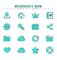Business and web blue fill icons set vector image