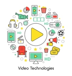 Video technologies line art thin icons set vector