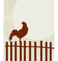 Retro rooster card vector