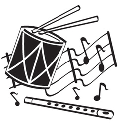Drums and flute vector