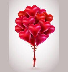 Flying bunch of red balloon hearts valentines day vector