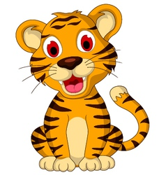 Cute baby tiger posing vector