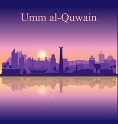 Umm al-quwain silhouette on sunset background vector