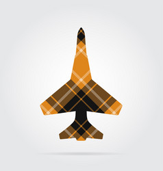Orange black tartan isolated icon - fighter vector