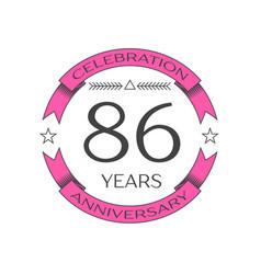 Realistic eighty six years anniversary celebration vector