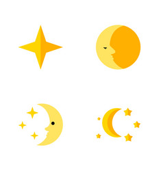 Flat icon midnight set of star bedtime nighttime vector