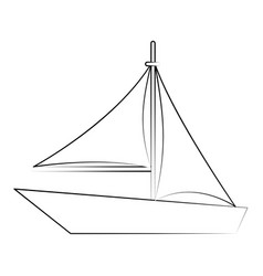 Sailboat surf drawing vector