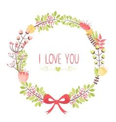 Elegant floral congratulation card vector image