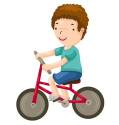 Young boy riding a bicycle vector