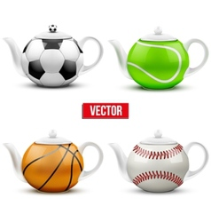 Set of different ceramic teapots in form balls vector