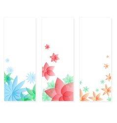 Three types of floral vertical banner cards eps10 vector