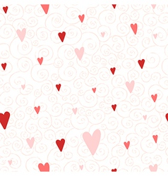 Seamless pattern with hearts and swirls vector