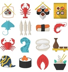 Asian seafood flat color icons vector