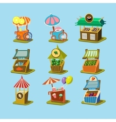 Stalls with food in style an isometric vector