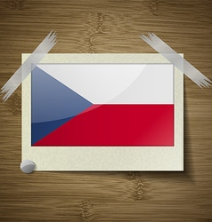Flags czech republic at frame on wooden texture vector