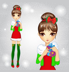 Fashion girl in green santa socks holding gift vector