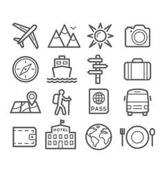 Travel and tourism line icons vector