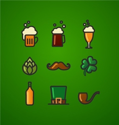 St patricks day green background icon set vector