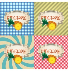 Four types of retro textured labels for pineapple vector