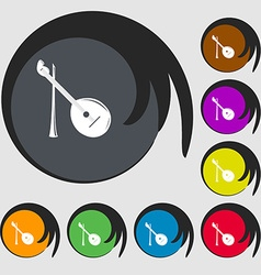 Balalaika icon symbols on eight colored buttons vector