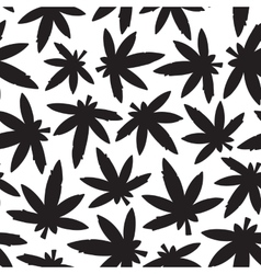 Marihuana ganja weed black and white seamless vector