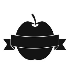 Apple with ribbon icon simple style vector