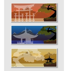 Banner with a japanese landscape vector