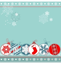 blue christmas background with balls vector image