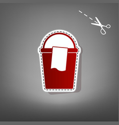 Bucket and a rag sign red icon with for vector