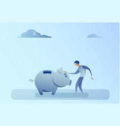 business man holding piggy bank money savings vector image vector image