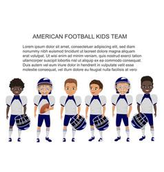 Cartoon school american footbal kids team vector